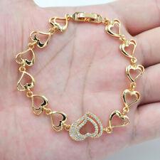 18K Yellow Gold Filled Women Clear Topaz Zircon Love Hearts Link Bracelet