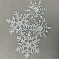 Christmas Ornament Lucite Clear Glitter Shatterproof SNOWFLAKE ( 4 ) USA SELLER