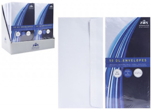 DL WHITE ENVELOPES PEEL AND SEAL X 50 110x220mm 80GSM