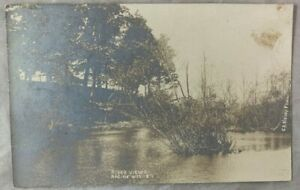 Antique Postcard RPPC REAL PHOTO River View Racine Wisconsin early 1900s