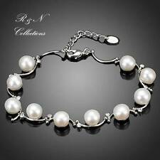 Platinum Plated Pearl Clear MAde With SWAROVSKI Austrian Crystal Bracelets