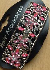 UN argento e rosa con lustrini motivo a fiori clip capelli Barrette METALLICHE