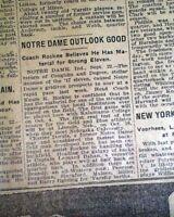 Early KNUTE ROCKNE Notre Dame Fighting Irish College Football 1919 NYC Newspaper