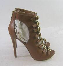 "NEW TAN 5""Stiletto high heel open toe ankle strap sexy shoes size 8.5  p"