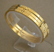 Lady's Yellow Gold Plated Bangle Bracelet Set 5 pieces Semanario New 3mm Wide