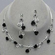 Black rose vine necklace set sparkly diamante prom bridal party jewellery 0410