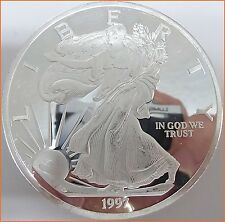 "12 oz .999 Silver ""1997 WALKING LIBERTY AMERICAN EAGLE SILVER"" Art Round L76"