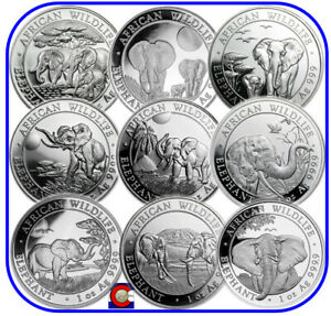 2013 2014 2015 2016 2017 2018 2019 2020 2021 Somalia Elephant 9 Silver 1oz Coins
