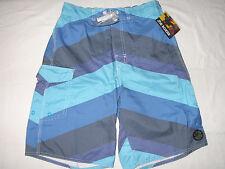 NWT Mens S Joe Boxer Blue Striped Cargo Swim Short