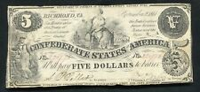 T-36 1861 $5 Five Dollars Csa Confederate States Of America Currency Note Vf