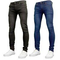 Soulstar Mens Boys Designer Super Skinny Stretch Jeans, Black / Dark Blue BNWT