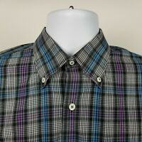 Peter Millar Mens Gray Black Blue Check Plaid  Dress Button Shirt Sz Large L