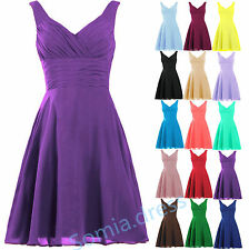 Short V Neck Chiffon Bridesmaid Formal Ball Gown Prom Party Evening Corset Dress