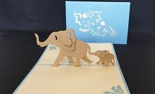 3D Pop Up Mummy and Baby Elephant Card. Idea for Birthday, Get well, Thank you..