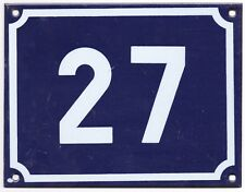 Large old blue French house number 27 door gate plate plaque enamel steel sign