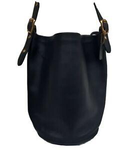 Vintage COACH Black Leather Large Bucket Shoulderbag