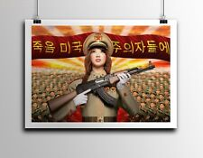 "North KOREA Anti-American Propaganda Poster Print Girl With AKM 18x24"" #NK016"