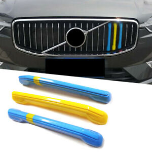 3x ABS Front Grille Grill Cover Strips Clip Trim For Volvo S90 V90 2017-19