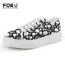 Cool Skull Creepers Shoes for Women Ladies Flats Shoes Platform Sport Sneakers