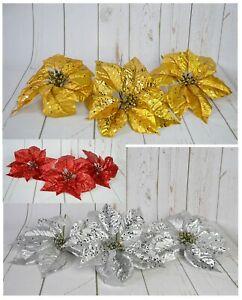 Large Glittered Metallic Poinsettia Picks x 3 PCS Christmas tree wreath