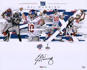 "Eli Manning New York Giants Signed 16"" x 20"" Super Bowl Plays Collage Photo"