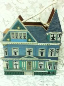 Vintage, Blue Victorian House Wooden Bills or Mail Box 9.5in x 8in x 2in