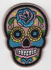 Pink Mexican Sugar Skull Embroidered Patch Iron-on Good Luck Charm Calavera