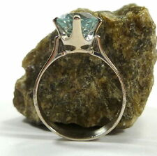 Solitäre Echte Edelstein-Ringe aus Weißgold mit Aquamarin für Damen