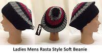 Ladies Mens Slouch Knitted Rasta Hat Adults Jamacia Beanie Soft Fashion Stretch