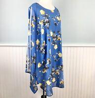 SIZE 1X Alfani Blue Floral Chiffon Overlay Tunic Top Shirt Women's Plus NWT Boho