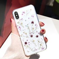 Fashion Real Dried Pressed Flowers Phone Cover Case For iPhone X XS MAX XR 8 7 6