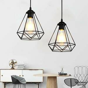 Metal Pendant Light Shade Ceiling Industrial Geometric Wire Cage Lampshade