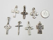 LOT OF 7 STERLING SILVER CROSS/CRUCIFIX PENDANTS RELIGIOUS CHURCH N283-M