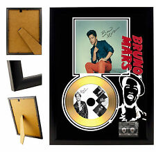 BRUNO MARS  - A4 SIGNED FRAMED GOLD VINYL COLLECTORS CD DISPLAY PICTURE