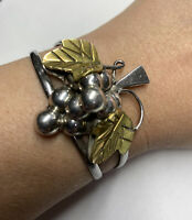 Vintage Mexico TAXCO Sterling Silver w/ GRAPES Bunch Cluster Cuff Bracelet 34 Gr