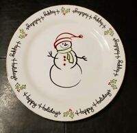 St. Nicholas Square 'Tis The Season Happy Holidays Snowman Dinner Plate