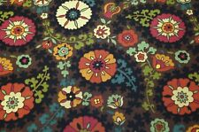 RICHLOOM SOMERSET GYPSY BROWN BASKETWEAVE SUZANI FLORAL FURNITURE FABRIC BY YARD