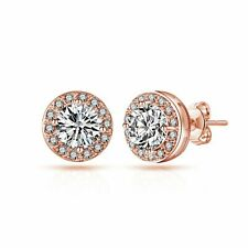 Rose Gold Halo Earrings Created with Swarovski® Crystals by Philip Jones