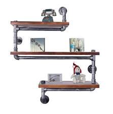 Industrial Pipe Shelving Bookshelf Rustic Modern Wood Ladder Metal Wall Shelf 3l