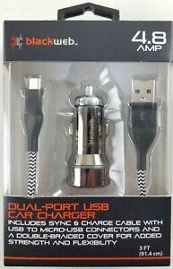 BlackWeb 4.8 AMP Dual-Port USB Car Charger with Micro USB Ballistic Fiber Cable
