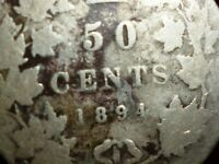 1894 CANADA 50 Cents KEY DATE low mintage of only 29,036 coins