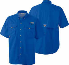 Columbia Fm7047 Bahama II Pfg Blue Short Sleeve Fishing Shirt Medium
