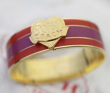 New Coach 3/4'' Poppy Heart Stripe Hinged Bracelet bangle Purple Red/Coral 95226