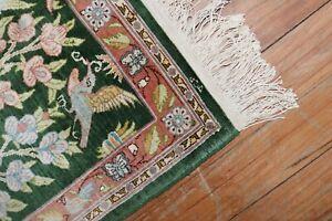 Fine Turkish Signed Hereke Silk Rug Size 1'2''X1'8''