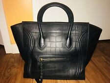 Authentic CELINE Croc Stamped Medium Phantom Luggage Black Perfect Condition
