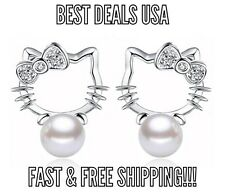 Silver Plated HELLO KITTY Pearl Earrings Fashion Women Jewelry NEW