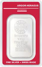 Lingot d'argent 100 g Argor Heraeus 999 Fine Argent 100 Grammes Swiss argenté
