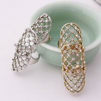 Women Jewelry Rhinestone Full Finger Armor Joint Knuckle Hollow Out Ring