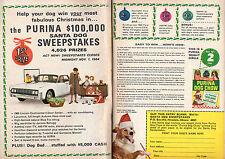 1964 Purina Dog Chow Christmas Santa Sweepstakes Ad ~ 1965 Lincoln Continental