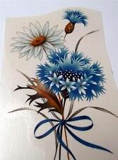 "#1899 Ceramic Decals 6 Blue N White Flowers 5"""